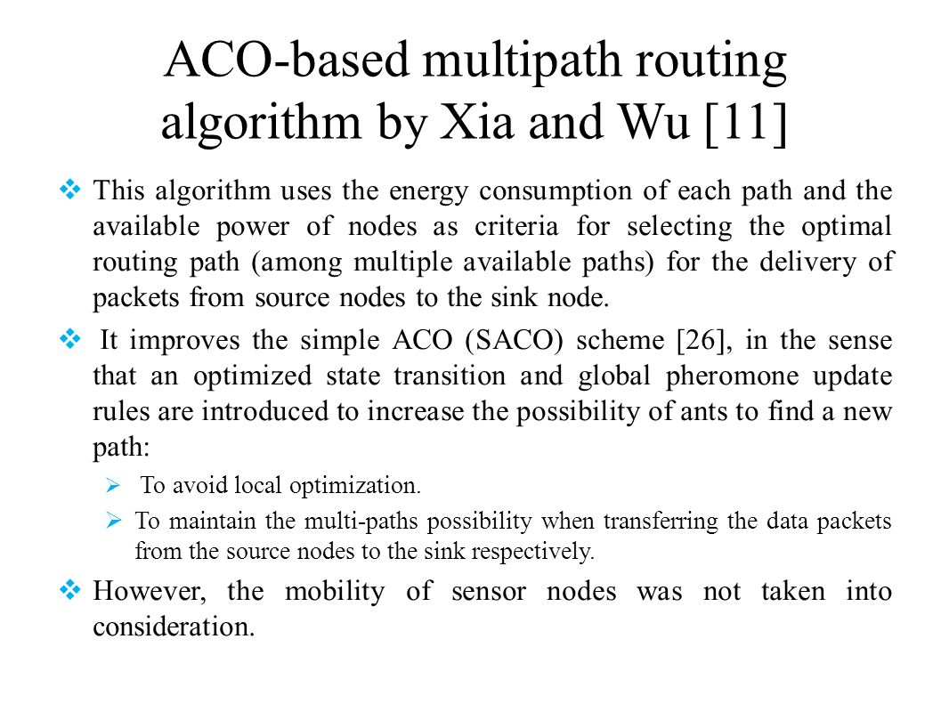 ACO-based multipath routing algorithm by Xia and Wu [11]